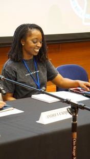SUA 2019 graduate and UCLA African American Studies student Khyla Horton speaks on a panel of student activists that closed out the Students of Color Conference on February 1, 2020. Photo by Saanika Joshi