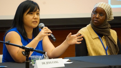 Asian American feminist writer Jenn Fang and UC Berkeley student activist Saida Dahir speak on a panel discussing the role of students in activism at the Students of Color Conference on February 1, 2020. Photo by Saanika Joshi