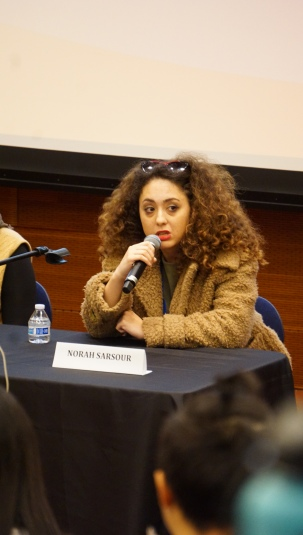 Norah Sarsour, an education activist and editor, speaks on a panel discussing the role of students in activism at the Students of Color Conference on February 1, 2020. Photo by Saanika Joshi