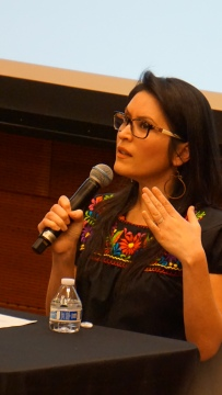 Former professor and current Chicanx healer Rocío Rosales Meza speaks about her experience in academia. A panel of Soka University professors as well as a former professor Meza spoke about the problems with institutions and academia on February 1, 2020. Photo by Saanika Joshi