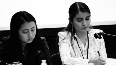 SUA seniors Jordyn Saito, left, and Andrea Vazquez speak on a panel of student activists that closed out the Students of Color Conference on February 1, 2020. Photo by Saanika Joshi